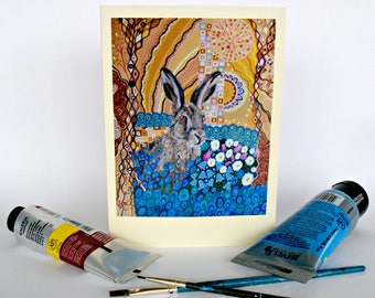 Art Nouveau Hare Birthday Card Art Greeting Card for Any Occasion Mark Betson Artist