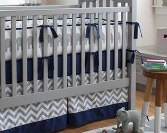 Boy Baby Crib Bedding: Navy and Gray Elephants 3-Piece Crib Bedding Set by Carousel Designs