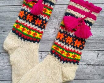 Wool socks Knit socks with tassels Ukrainian warm socks Woolen socks from Ukraine