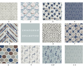 Curtains, Blue, Light Blue, Navy, Brown, Gray, Living Room, Dining Room, Bedroom, Kitchen, Den, Family Room, Windows, Chinouserieerie,