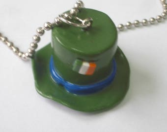 HAT ST. PATRICK'S DAY POLYMER CLAY PENDANT