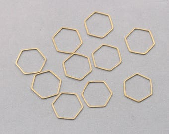 20Pcs, 20mm Raw Brass Hexagon Rings Charms ZR-7608