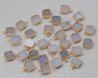 10mm Tiny Square Agate Druzy Pendants -- With Electroplated Gold Edge Druzzy Drusy Geode Dainty Charms Supplies Handmade YHA-317