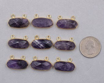 Faceted Amethyst Double Bails Pendants -- With Electroplated Gold Edge Charms Wholesale Supplies CQA-020