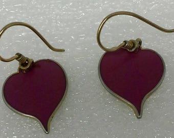 """Valentine Vintage Laurel Burch heart shape dangle earrings """"yoel"""""""
