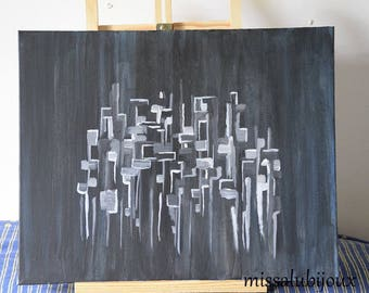 abstract painting was acrylic shades black, white, grey blue