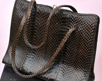 Vintage 1950s Brown Snakeskin Handbag by Simon Martin • Top Handle Bag