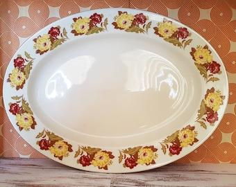 Vintage 1970s Stoneware Platter, Floral Design Stoneware, Vintage Platter, Serving Platter, Stoneware VIntage Serving Plate