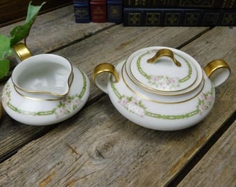 Antique Theodore Haviland Schleiger Limoges France Covered Sugar Bowl and Creamer - Pink Roses Green Chain