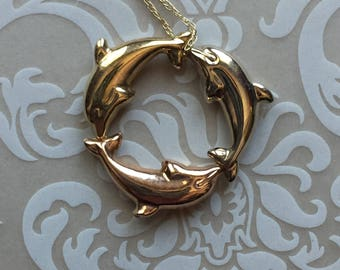 DOLPHIN 10K Gold Tri Color Circle Pendant with 10K gold chain