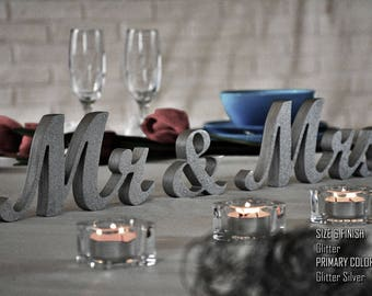 Silver Glitter Mr & Mrs Wedding Signs, Mr and Mrs Wood Wedding Decoration