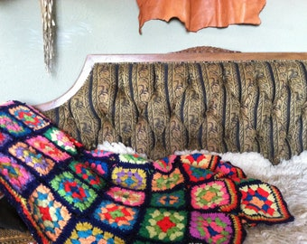 70s handmade granny square afghan blanket couch throw trippy psychedelic 1970s hippie groovy woodstock summer of love 60s 1960s road trip