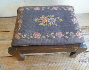 Vintage Handmade Tapestry Wood Bench Foot Stool