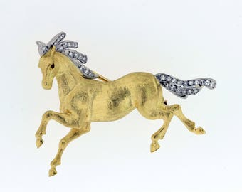 18K Gold Diamond and Ruby Horse Brooch