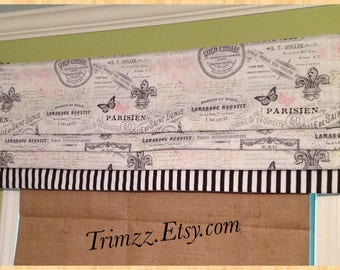 Ready To Ship........Whimsical Blackout Lined Paris Themed Faux Roman Shade with Black and White stripe bottom band .......Hand Made.....NEW