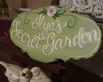 """7x14 Custom Made Completely Hand Painted Wood """"Malika's Secret Garden"""" SIGN, Shabby Chic Sign, Cottage Chic Sign, Vintage Sign, Custom Signs"""