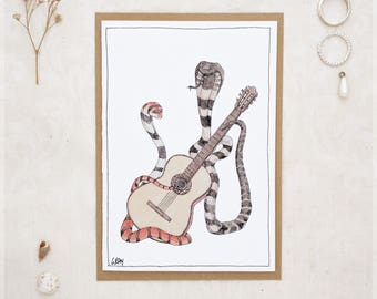 The Cobras & Their Classical Guitar ~ Greeting Card from Original Ink and Watercolour Painting