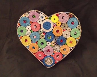 Heart Shaped Wall hanging,Table ware, Love heart, Bedroom, Kids room,Multi Coloured Heart,Unique, Up-cycled, Paper,100% Aussie maker.