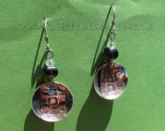 Sterling Silver and Stamped Copper Earrings with Smokey and Clear Quartz