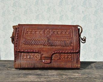 Leather bag, womens leather bag, vintage leather bag, leather shoulder bag, brown leather bag, tooled leather bag, womens leather bag
