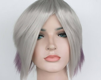 Christmas wig Sale. Gray and purple short wig. Multi-colored short hair. Ready to ship. New Year's Eve party wig.