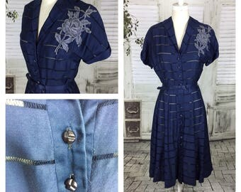 Original 1940s Blue Raw Silk Day Dress With Lace Flower