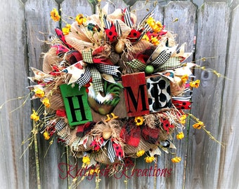 Rooster Wreath, Farmhouse Wreath, Country Decor, Kitchen Wreath, Rustic Wreath, Chicken Wreath, Frayed Burlap, Country Chicken Kitchen Decor