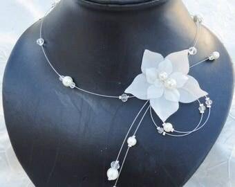 Collier mariée mariage soirée Fleur de soie ivoire Lyla  Necklace wedding evening ivory silk flower Amour bridal bride