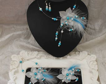 Wedding necklace bracelet boucless feathers and turquoise floral wedding Bridal jewelry set