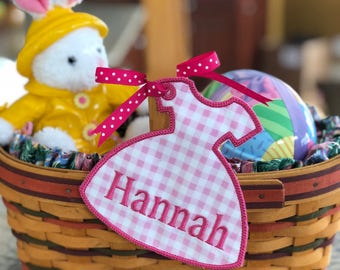 Easter Basket Name Tag Personalized, Easter Dress, Embroidered, Appliqué