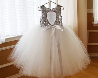 Angelica Silver / Ivory Princess Flower Girl Dress, Ivory with Silver Sequins Flower Girl Dress