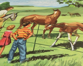 Vintage British school poster of horses! Excellent condition.
