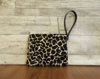 Leather clutch, Leather iPad mini case, womens leather bag, nail polish bag, Clutch purse, Animal print, Leopard,Wristlet, small leather bag