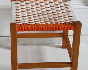 Vintage Woven Square Rope Foot Stool, orange and ivory