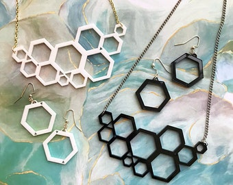 Hexagon Laser-Cut Jewelry Set