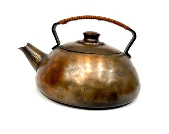 Rare Hand-Hammered Antique Copper Craftsman Studios Tea Kettle 1920's