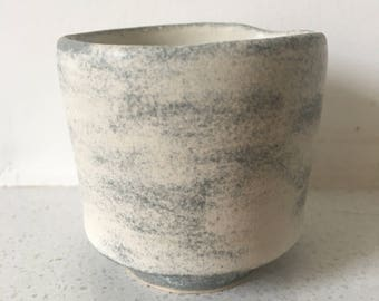 Clouds of Consciousness Yunomi, Chawan, Tea Bowl - Grey and soft white, wheel thrown stoneware, hand painted, one of a kind, studio ceramics