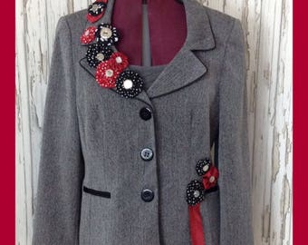 Women's Unique Jacket Embellished with Suffolk Puffs & Vintage Ties // Customised Formal Wear, Alternative, Steampunk // Upcycled Refashione
