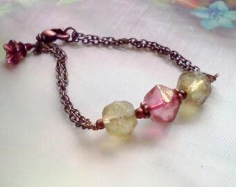 Watermelon Ice, English Cut Beaded Bracelet, Handmade Bracelet,  Simply Elegance Bracelet, Birthday Gift, Minimalist, Pink and  Green,#15