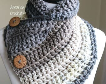 Crochet Button Cowl | Crochet Neckwarmer | Cowl | Scarves & Wraps | Winter Accessory | Gift for Her | 3 Button Cowl | Ribbed Neckwarmer