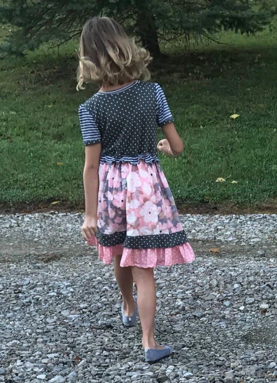 Girls dress,girls fall dress,girls big flowered dress,polka dot dress,toddler dress,gray and rose dress,striped dress,girls fancy dress
