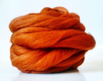 ON SALE DIY and Free Ship! Chunky Knit Merino Wool in Nutmeg for Knitting Chunky Knit Blankets, Extreme Knitting, Giant Knitting
