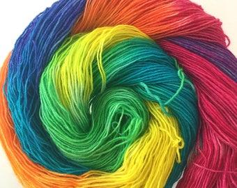 Hand-dyed BFL Bling sock yarn Rainbows 100g 380m