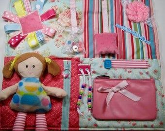 Doll on Soft Pastels Fidget, Sensory, Activity Quilt Blanket