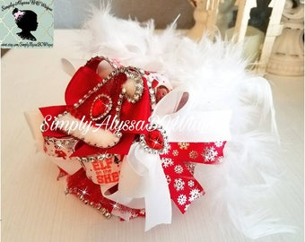 "New! 5.5""length,5.5""width Elf on the Shelf inspired  hair bow with silver diamond mesh jewels, crystal rhinestones,feathers"