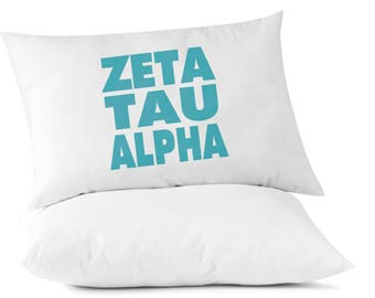 Sorority Name Printed in Sorority Color Pillowcases - Zeta Tau Alpha shown - All 26 NPC Organizations Available