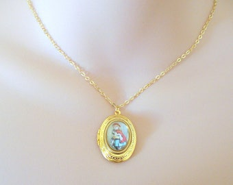 Gold Fairytale Locket, Vintage Inspired Locket, Red Riding Hood Locket, Gift for Her