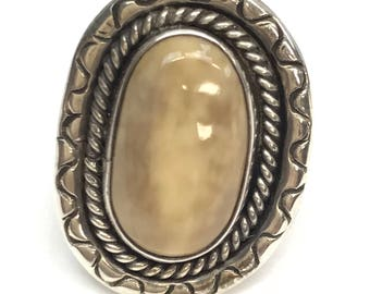 Sterling Silver Oval Jasper Etched Silver Rope Edged Concho Ring