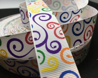 "3 yards 7/8"" Rainbow Swirl Loop grosgrain ribbon"