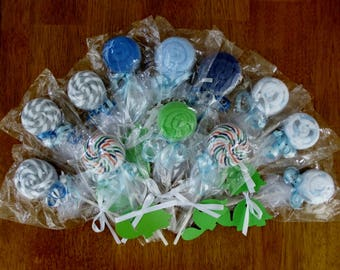Boy's Assorted Baby Washcloth Pops & Lollipop Washcloth Favors  // Baby Shower Gifts, Children, Hand Sculpted New Baby, Baby Boy